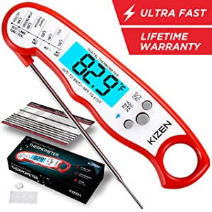 Kizen Instant Read Meat Thermometer - Best Waterproof Ultra Fast Thermometer with Backlight & Calibration. Kizen Digital Food Thermometer for Kitchen, Outdoor Cooking, BBQ, and Grill! (Red)