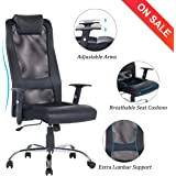 VANBOW High Back Mesh Office Chair - Adjustable Arms Ergonomic Computer Desk Task Chair with Padded Leather Headrest and Lumbar Support, Black