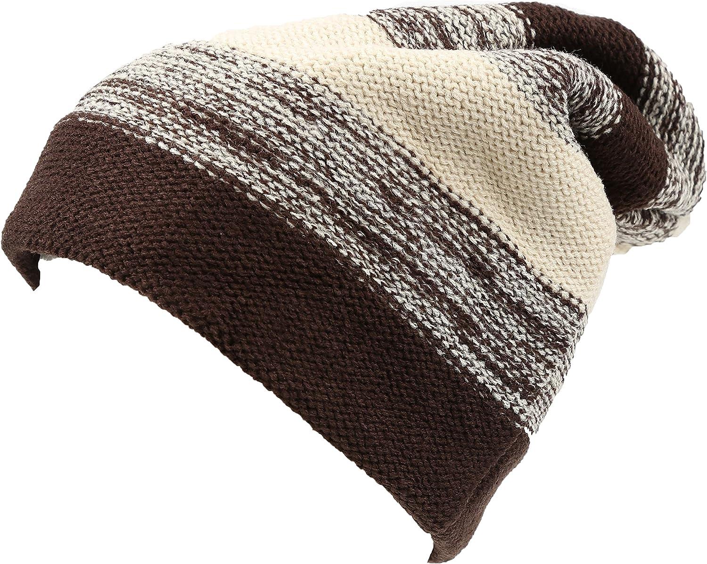 Sakkas Balmn Long Tall Classic Striped Heather Faux Fur Lined Unisex Beanie Hat