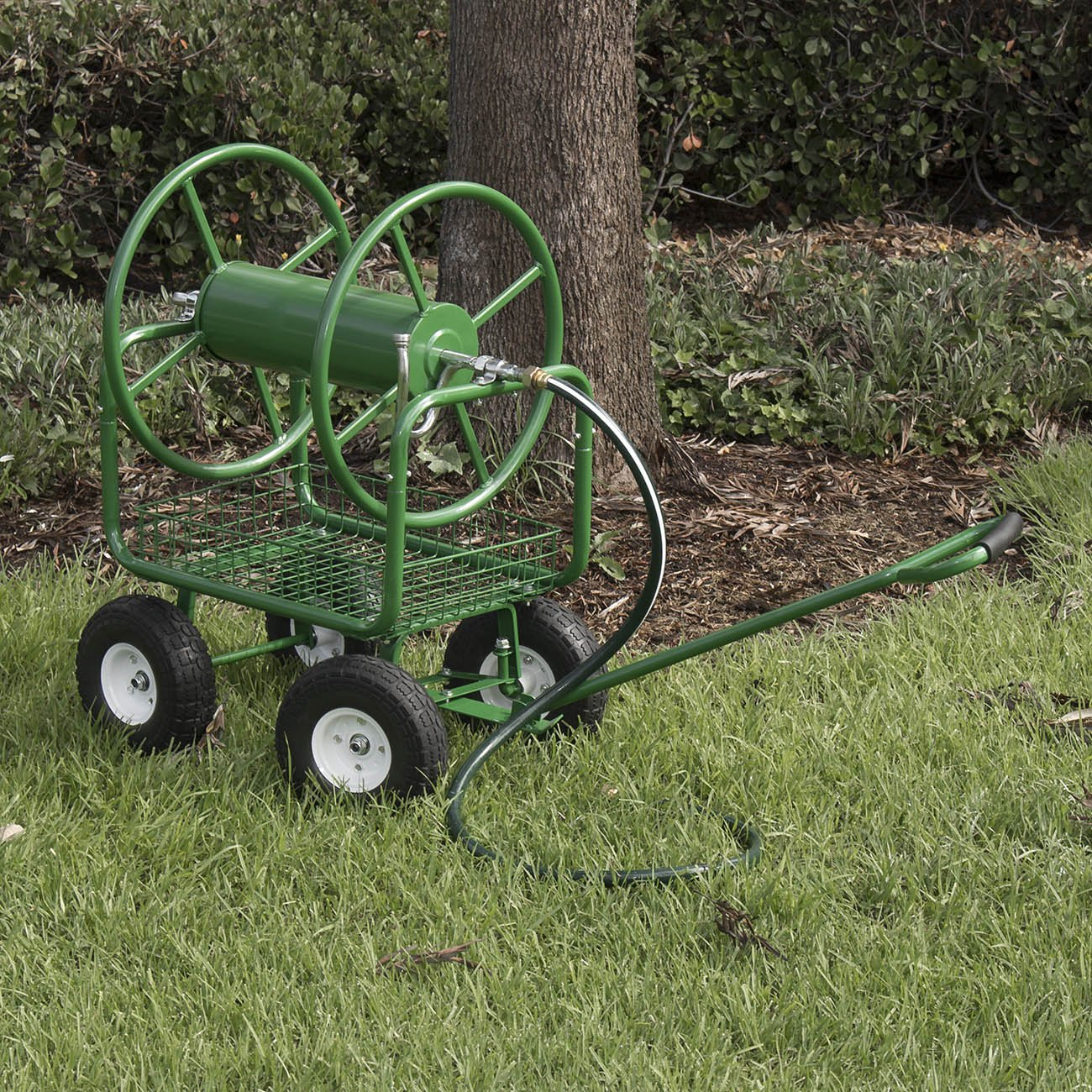 ARKSEN Water Hose Reel Cart 400 ft Capacity Garden Basket with Easy Turn Handle