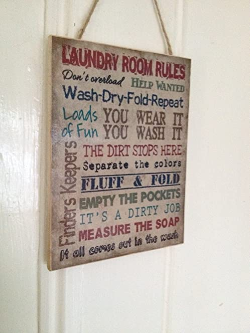 Laundry Room Rules Funny Door Sign Wall Plaque
