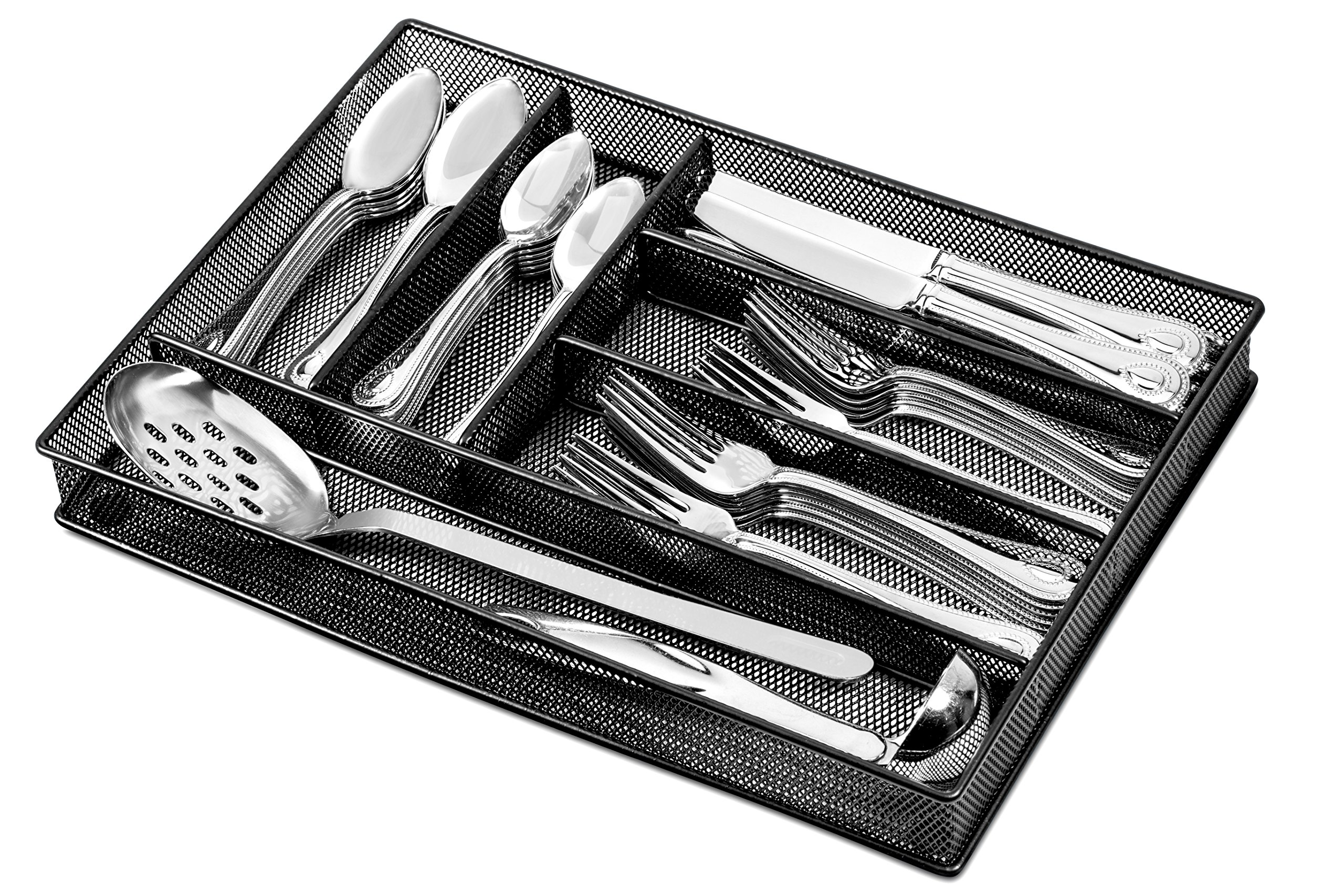 Flatware Drawer Organizer - Slip Resistant Kitchen Tray with 6 Sections to Neatly Arrange Cutlery and Serving Utensils. Also Great to Keep your Desk Drawer and Office Supplies Well Organized (Black)