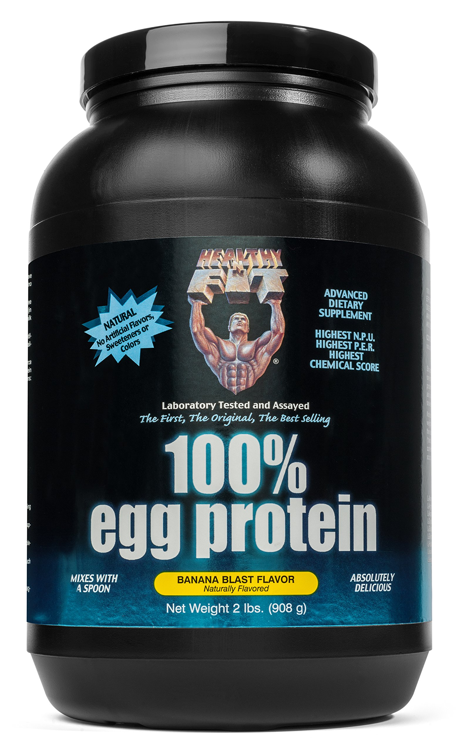Healthy 'N Fit 100% EGG PROTEIN- Banana (2lb): 100% Egg White Protein PLUS Natural Peptides. The Highest Quality, Purest, Most Effective, All Natural Protein.
