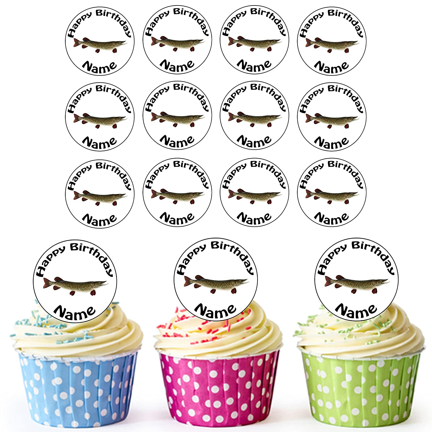 Amazing Fishing Pike 24 Personalised Edible Cupcake Toppers Birthday Cake Funny Birthday Cards Online Eattedamsfinfo