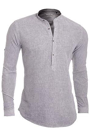 Slim Fit Leinenhemd mit Stehkragen