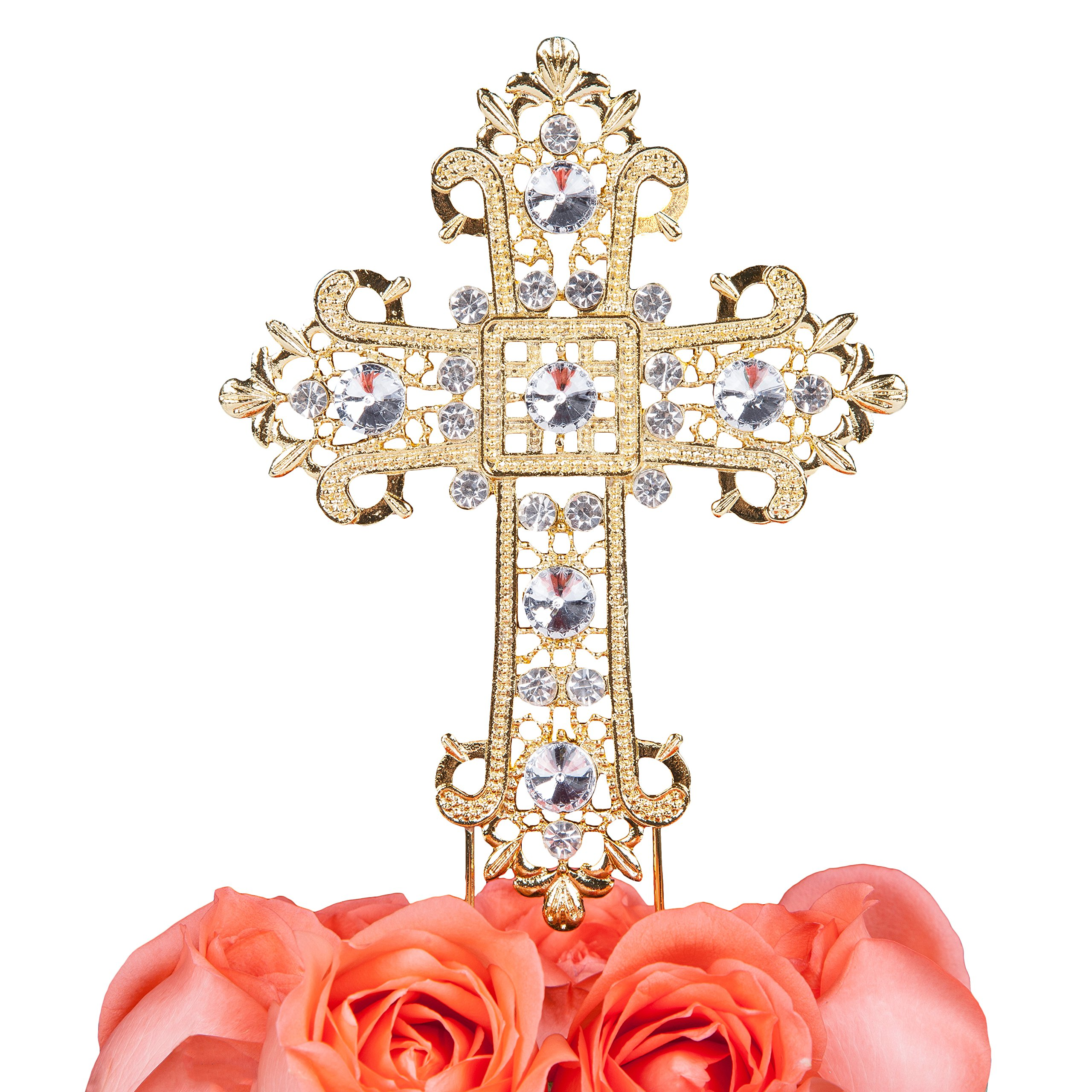 LOVENJOY Gift Box Pack Cross Rhinestone Crystal Gold Cake Decoration Topper for Wedding Religious Baptism Christening First Communion Confirmation (4.5-inch wide) by LOVENJOY