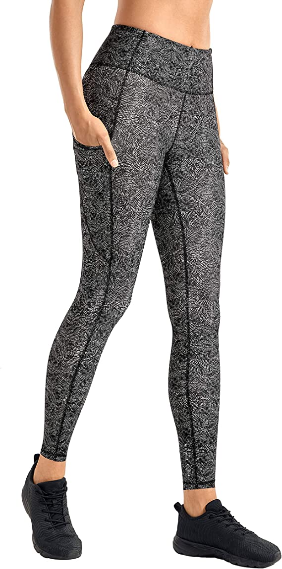 CRZ YOGA Womens High Waisted Yoga Pants with Pockets Naked Feeling Workout Leggings-25 Inches