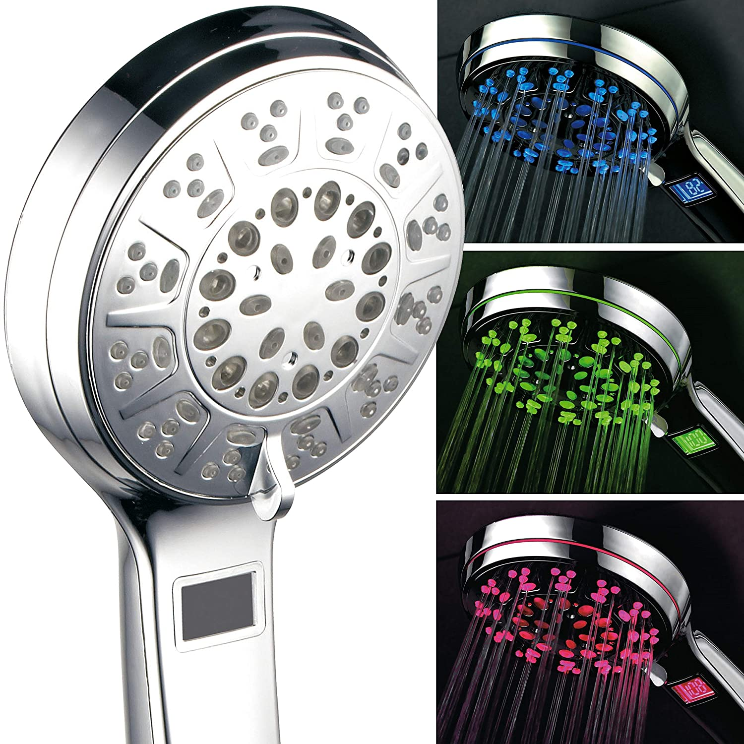 Hotelspa 3 Colors Led Hand Shower With Temperature Display Chrome