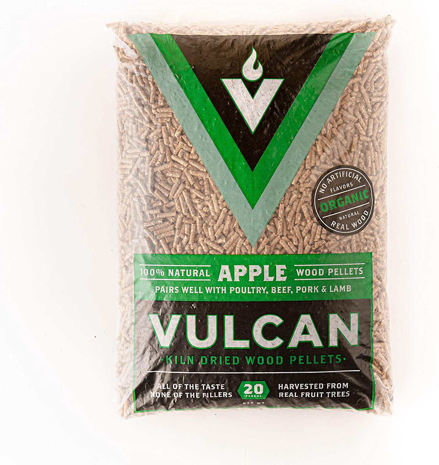 Vulcan Apple Grilling Wood Pellets | All Natural 100% Quality Kiln Dried Food-Grade Real Hardwood | Bold Smokey Rich Flavor for Outdoor Grill BBQ Smoker Smoking Meat | Organic, No Artificial Flavors