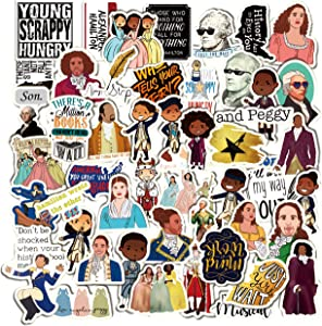 GROBRO7 52Pcs HamiltonMusical Vinyl Stickers Hipster Laptop Sticker Pack Pogue Life Waterproof Stickers Luggage Skateboard Water Bottle Stickers Decal Bicycle Bumper Snowboard Decor Gift for Friends