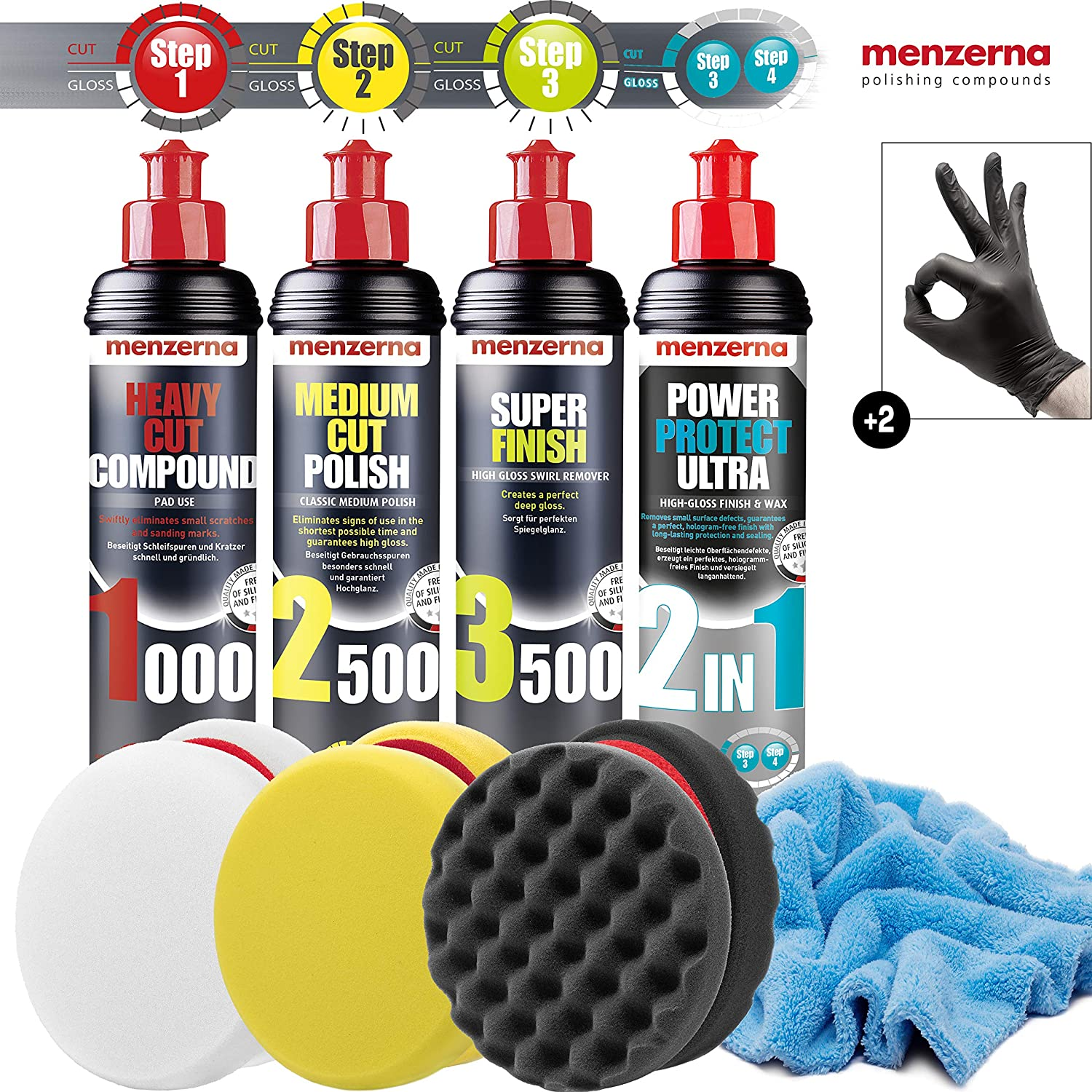 Detailmate Auto Politur Set Menzerna 250ml Autopolitur Super Heavy Cut 1000 Medium Cut 2500 Super Finish 3500 2 In 1 Power Protect Ultra Finish Wax 3x Menzerna Pad Mikrofaser Poliertuch Auto