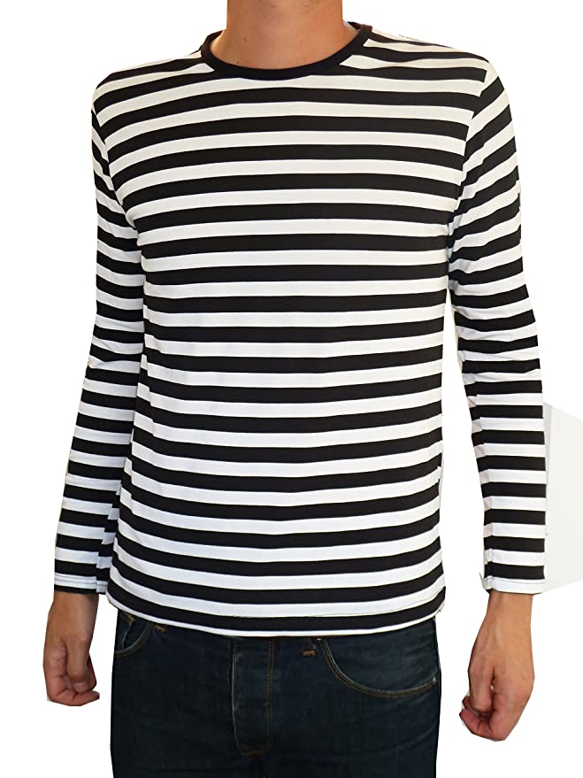 1940s Men's Costumes: WW2, Sailor, Zoot Suits, Gangsters, Detective Striped Black & White Stripes Tee T-shirt Mod Long Sleeve Breton Top $30.10 AT vintagedancer.com