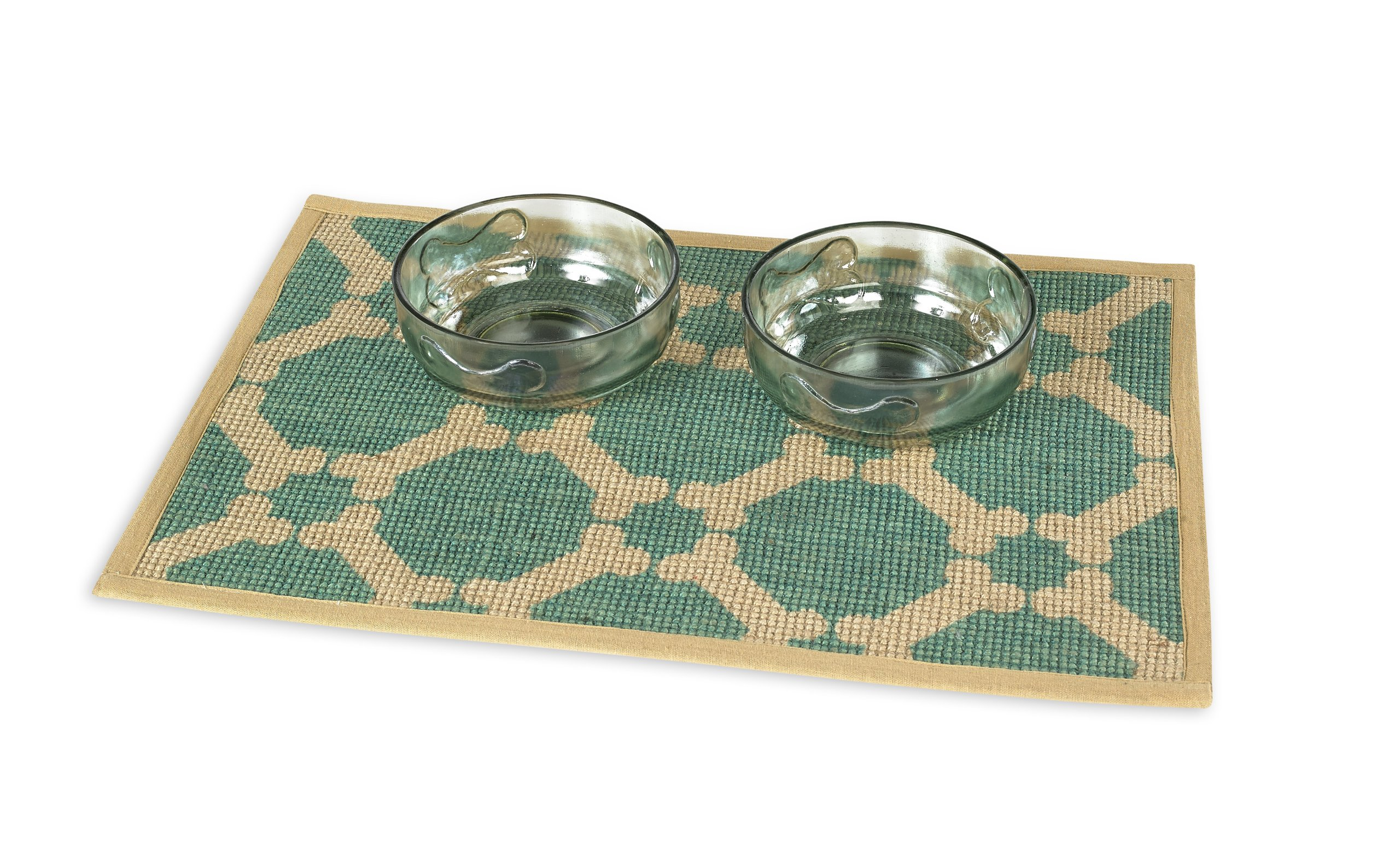 Buddy's Line Natural Jute Pet Placemat with Matching Bow-Wow Glass Pet Bowl Set, 1-Pint, Teal