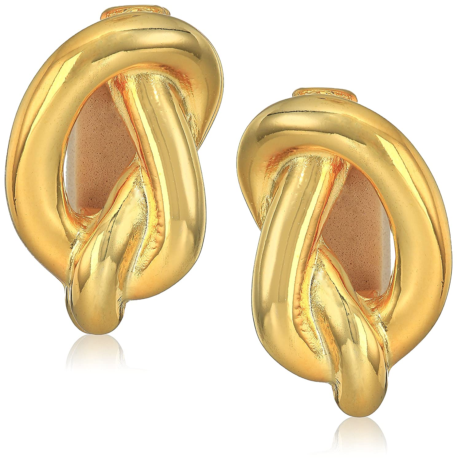 Kenneth Jay Lane Polished Gold Knot Clip-On Earrings 7939EPG