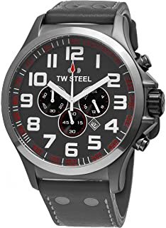 TW Steel Pilot Watch - Stainless Steel Plated Titanium Watch - Grey Dial Date 24-