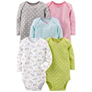 Simple Joys by Carter's Baby Girls 5-Pack Long-Sleeve Bodysuit, Grey/Pink/Lime/Blue, 3-6 Months