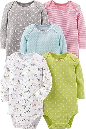 Simple Joys by Carter's 5-Pack Long-Sleeve Bodysuit Bebé-Niñas, Pack de 5