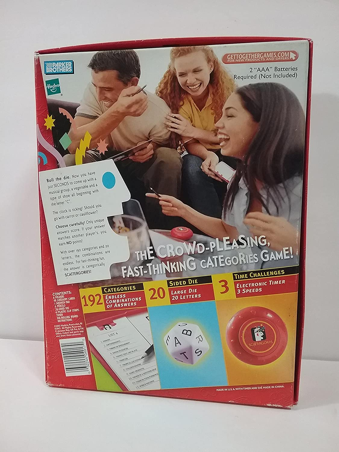 2003 The Game of SCATTERGORIES Hasbro .