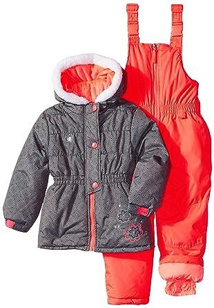 f90daedad Amazon.com  Rugged Bear Little Girls  Snowsuit with Flower Detail ...