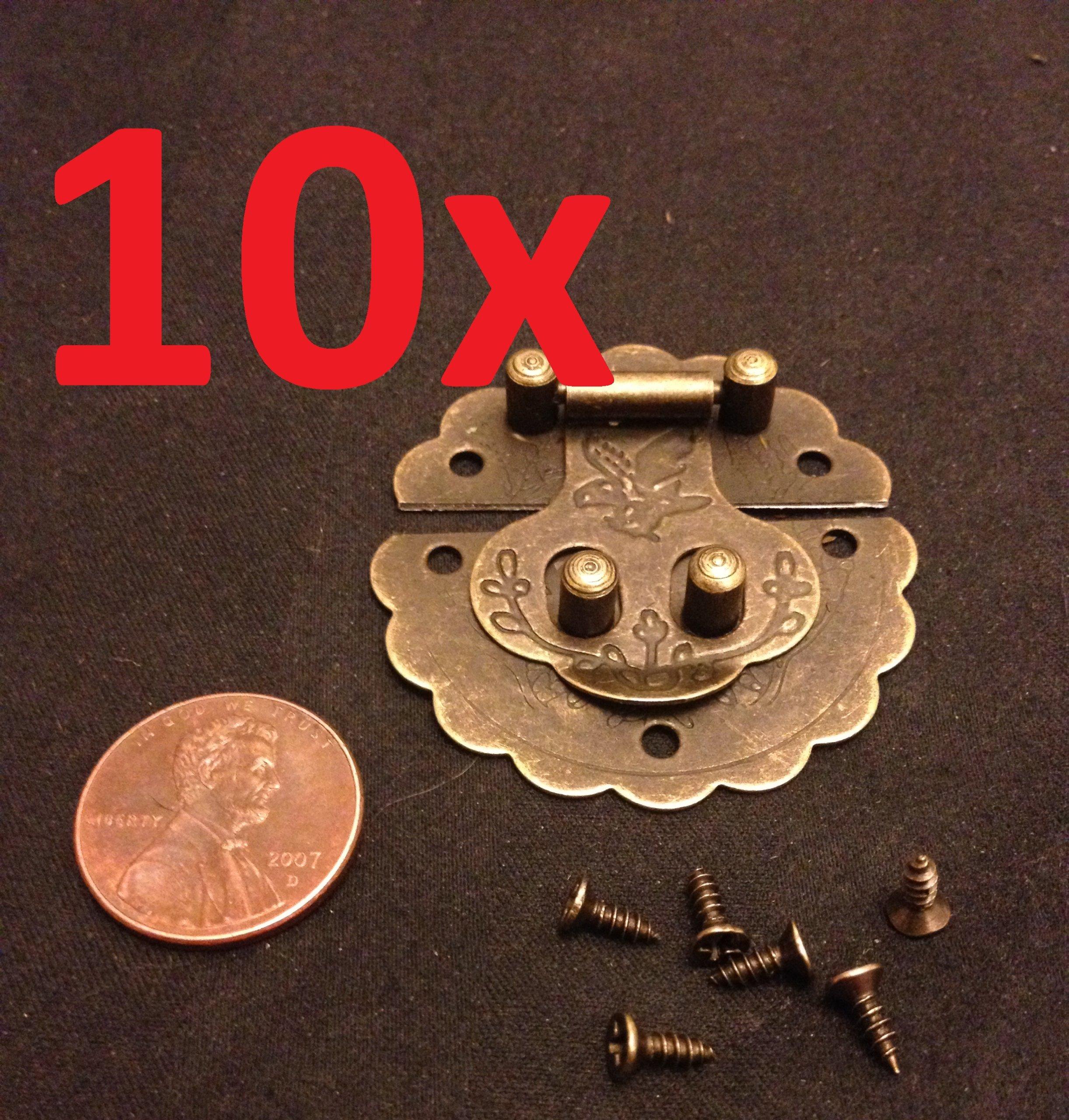 10x Lock Hinge Mini Dollhouse Antique Bronze Wood Latch Sets Box Case Small C1