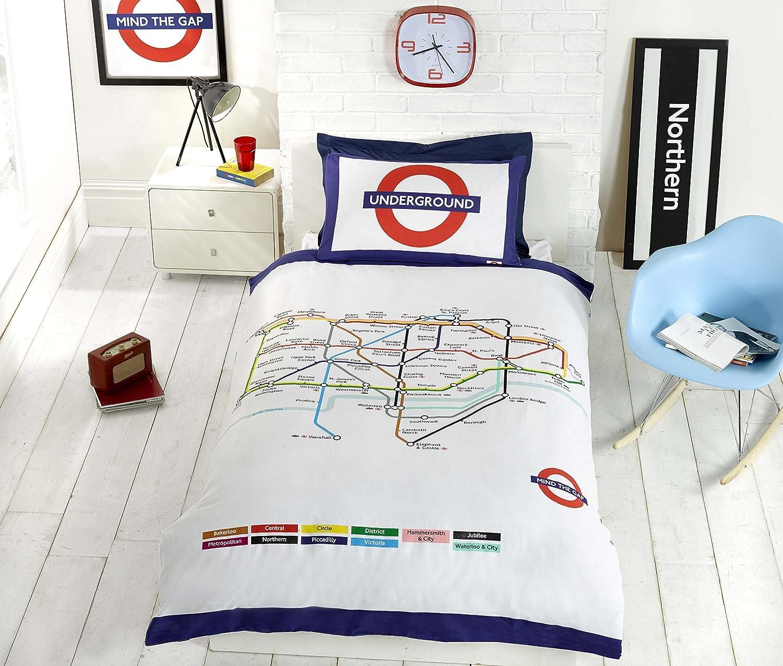 transport for london tfl underground london undgerground tube duvet cover and pillowcases bedding bed set single white amazoncouk kitchen home
