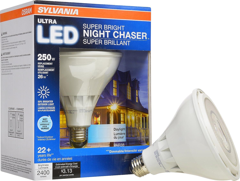 Sylvania - Bombilla LED regulable, 26 W, sustituye a 250 W halógena PAR38/tamaño mediano Base E26/3000 K: Amazon.es: Bricolaje y herramientas