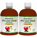 HealthViva Apple Cider Vinegar Combo with Mother Vinegar and Honey, 500 ml (Pack of 2)