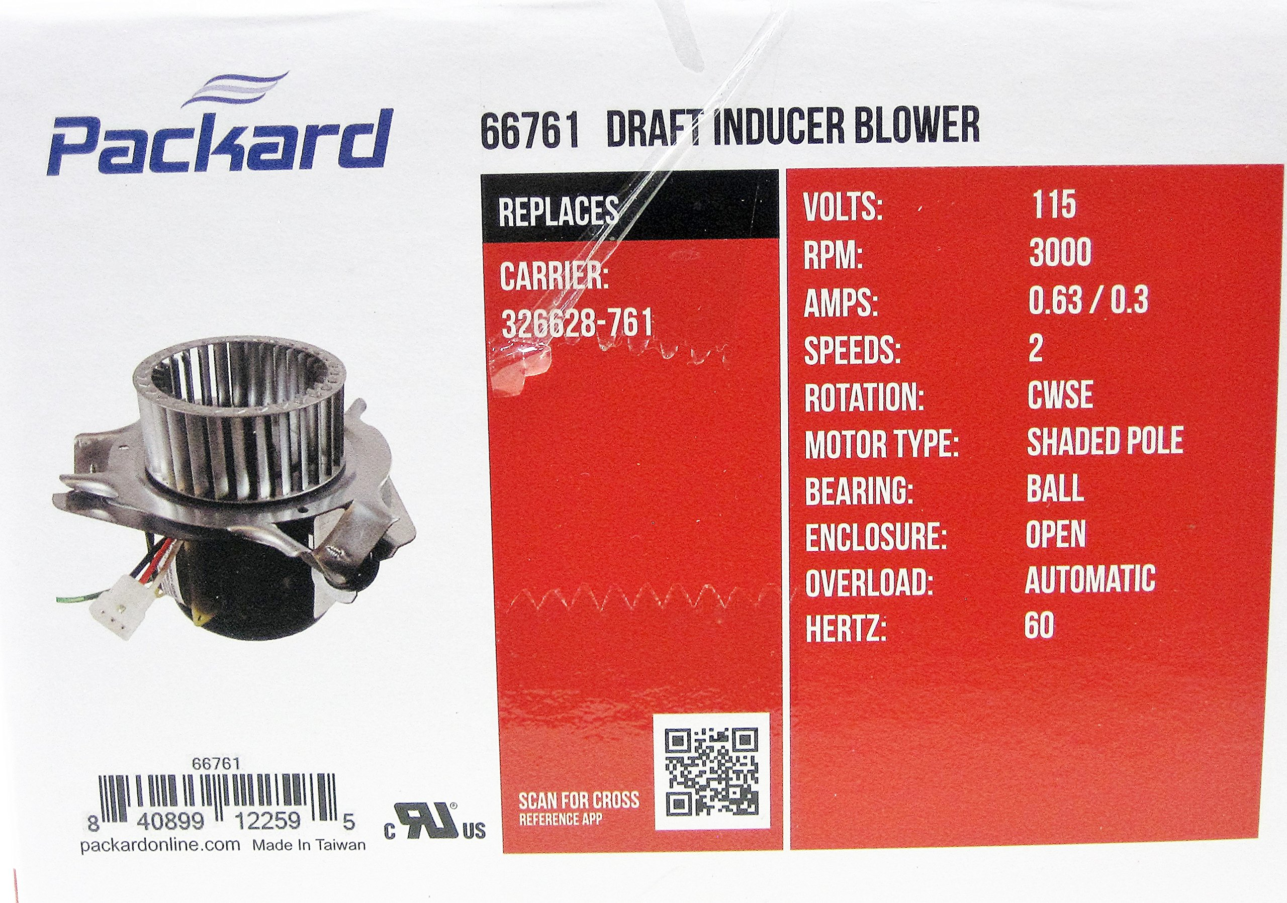 Packard Draft InDucer Fan Furnace Blower Motor for Carrier 326628-761 by Packard