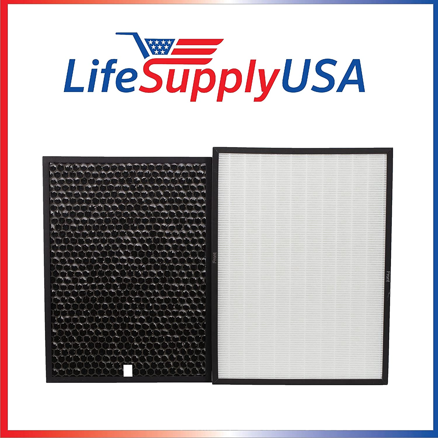 LifeSupplyUSA Replacement HEPA & Carbon Filter Kit Set Compatible with Rabbit Air BioGS/BioGP SPA-421A & SPA-582A Air Purifiers