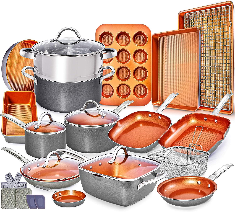 Copper Pots and Pans Set Cookware Set under $300 dollars