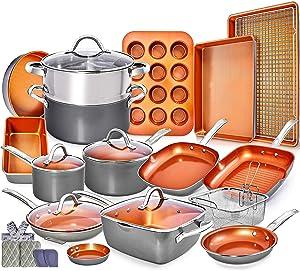 Copper Pots and Pans Set -23pc Copper Cookware Set Copper Pan Set Ceramic Cookware Set Ceramic Pots and Pans Set Induction Cookware Sets Pot and Pan Set Ceramic Pots and Pans Set Nonstick Cookware Set