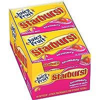 Juicy Fruit Starburst Strawberry Sugarfree Gum, 15 piece,10 Count