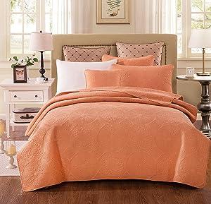 Tache Home Fashion Tuscany Sunrise Solid Floral Bedspread Set, Twin, Orange