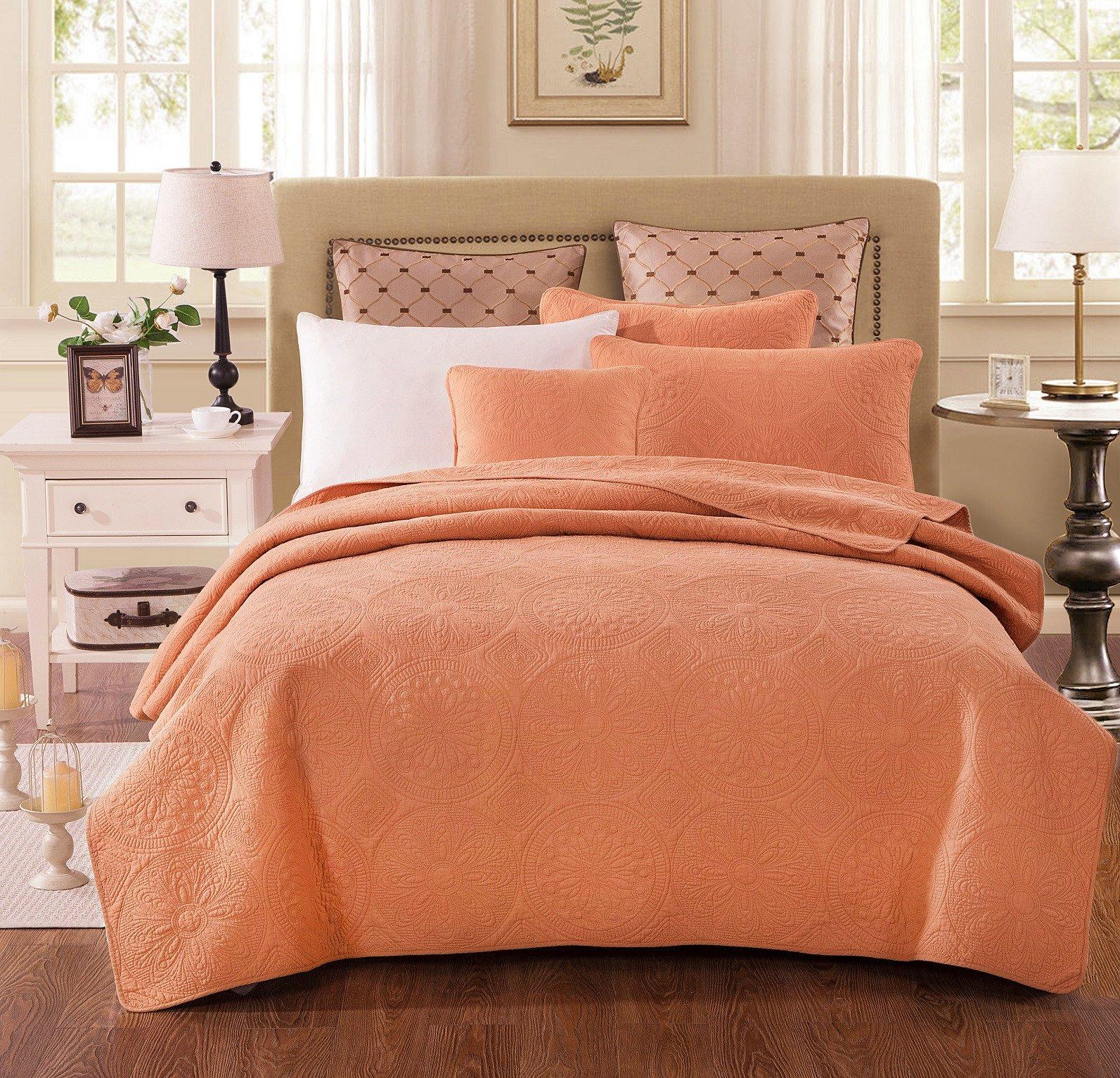 Tache Home Fashion Tuscany Sunrise Solid Floral Bedspread Set, King, Orange