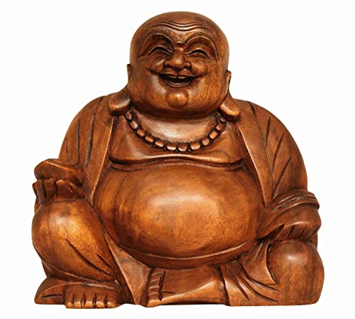G6 Collection 8 Wooden Laughing Happy Buddha Statue Hand Carved Smiling Sitting Sculpture Handmade Figurine Decorative Home Decor Accent Rustic Handcrafted Art Decoration Happy Buddha Small