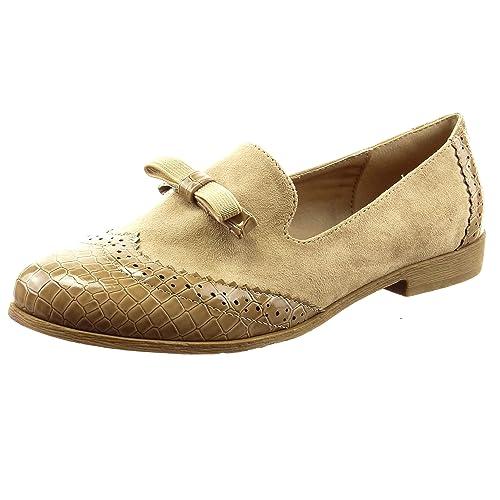 Sopily - Zapatillas de Moda Mocasines Bailarinas Tobillo mujer nodo piel de serpiente perforado Talón Tacón ancho 2 CM - Caqui FRF-6-BL104 T 41: Amazon.es: ...