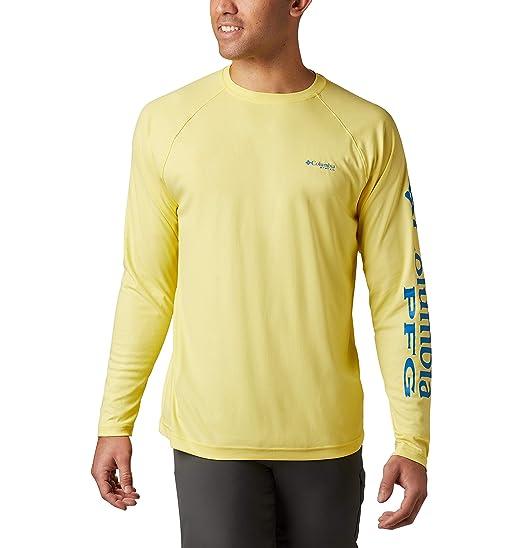 0306236c Columbia Men's Terminal Deflector Long Sleeve Shirt, Small, Autzen/Hyper  Blue