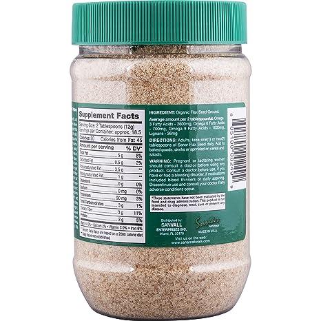 Amazon.com: Sanar Naturals Organic Ground Flaxseed, 8 Ounce (3 Pack) - Semilla de Lino Molidas, Linaza, Great Source of Omega 3,6,9, Dietary Fibers, ...