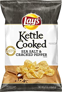 product image for Lay's Kettle Cooked Sea Salt & Cracked Pepper Flavored Potato Chips, 8 Ounce