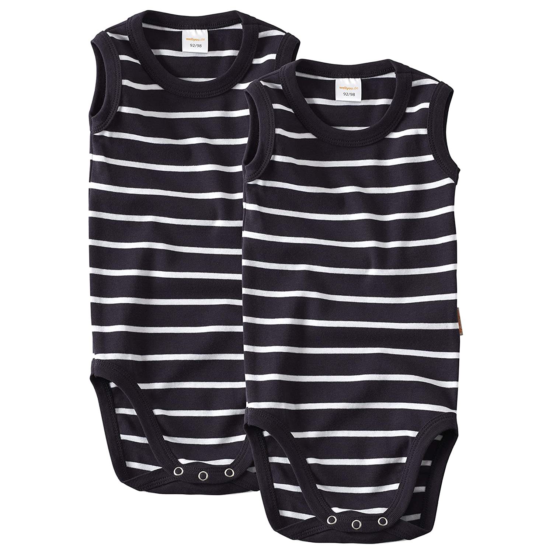 Body 2er Set in Marine Weiss Gr/ö/ße 104-134 wellyou Baby und Kinder Doppelpack Babybody ohne Arm Junge aus 100/% Baumwolle