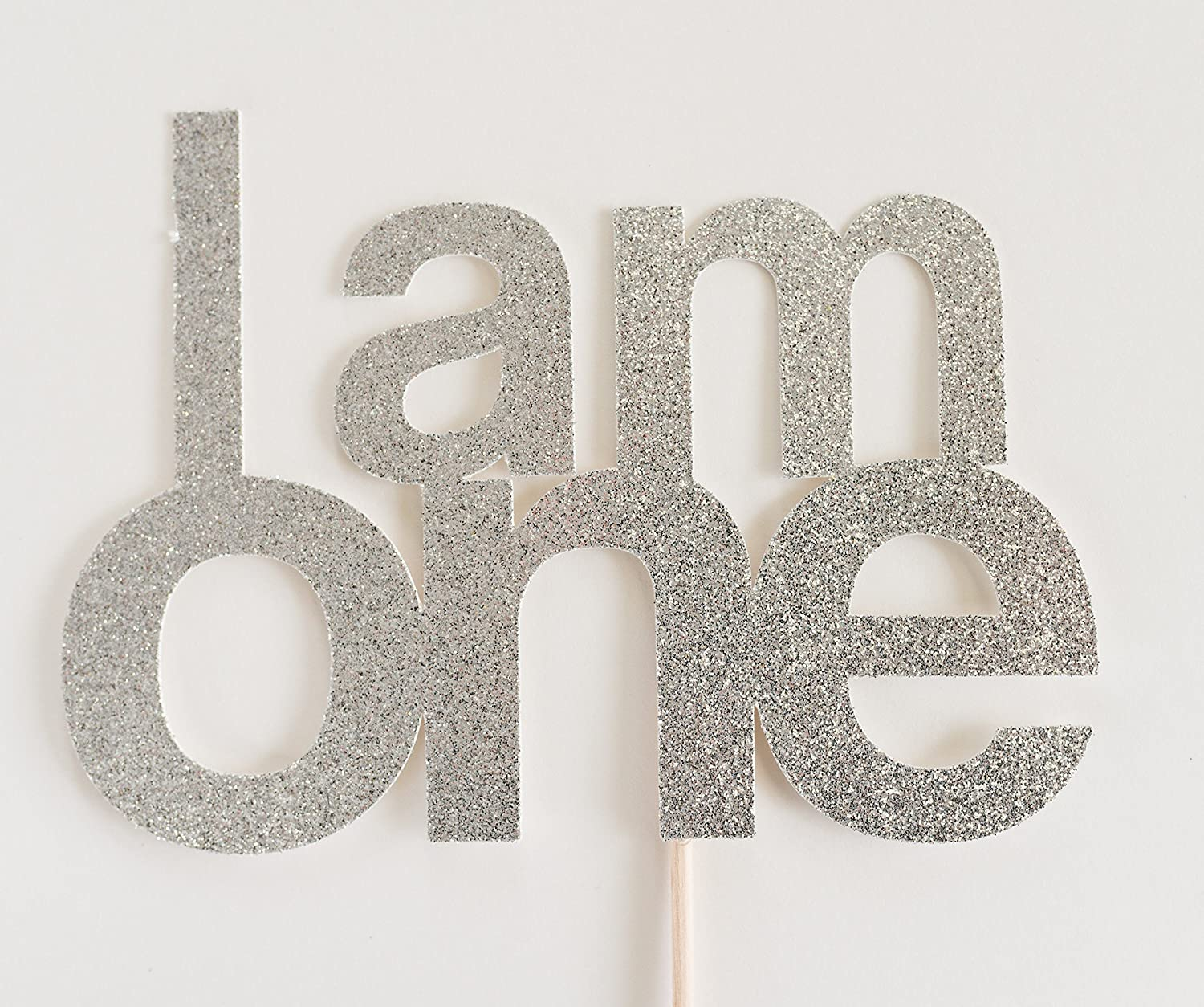 Silver Glitter 'I Am One' Cake Topper, First Birthday, 1st, Cake Smash, Party