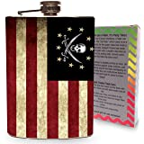 Pirate Jolly Roger American Flag Flask Stainless Steel 8oz Metal For Drinking Liquor Whiskey Skull & Crossbones Jolly Roger Pirates