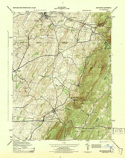 Amazon.com: Maryland Maps | 1944 Smithsburg, MD USGS Historical ...