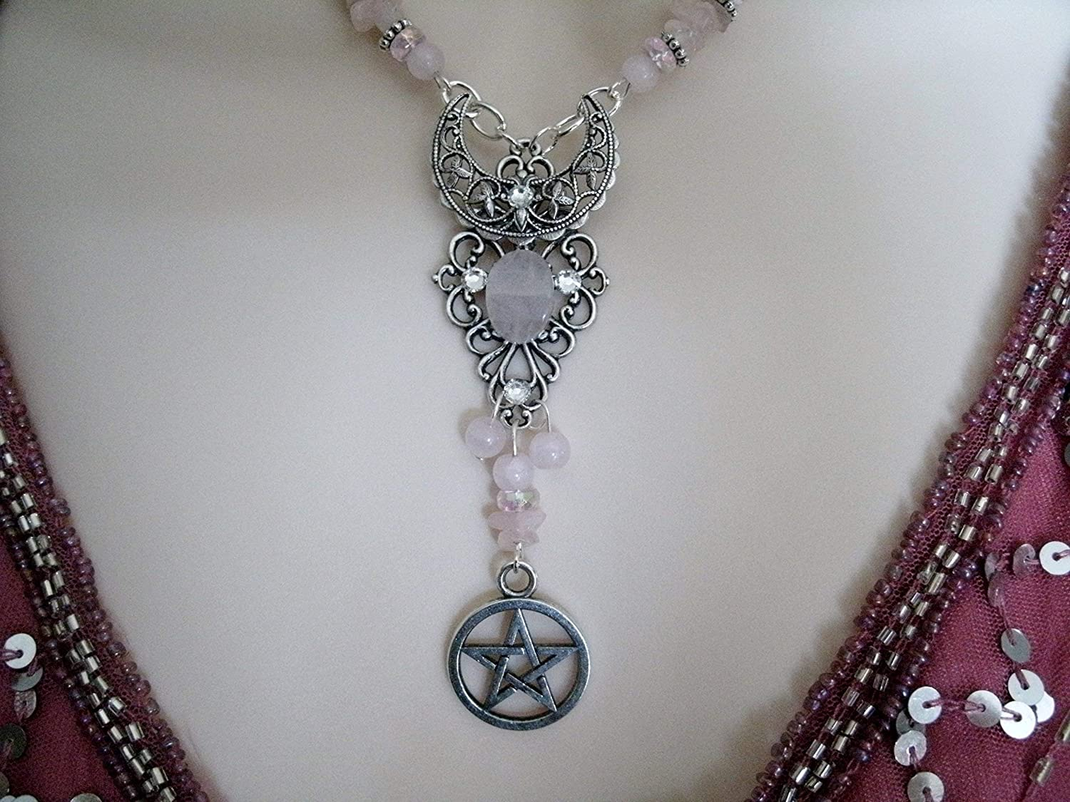 Rose Quartz Crescent Moon Pentacle Necklace pagan witchcraft wiccan pentagram handmade jewelry witch wicca metaphysical magic
