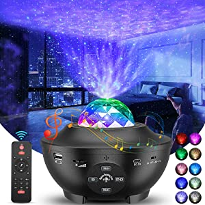Star Projector, Galaxy Projector with Remote Control, 3 in 1 Light Projector w/LED Nebula Cloud with Bluetooth Music Speaker, Voice Control & Timer Function for Kids Adult Room Decor/Birthday/Party