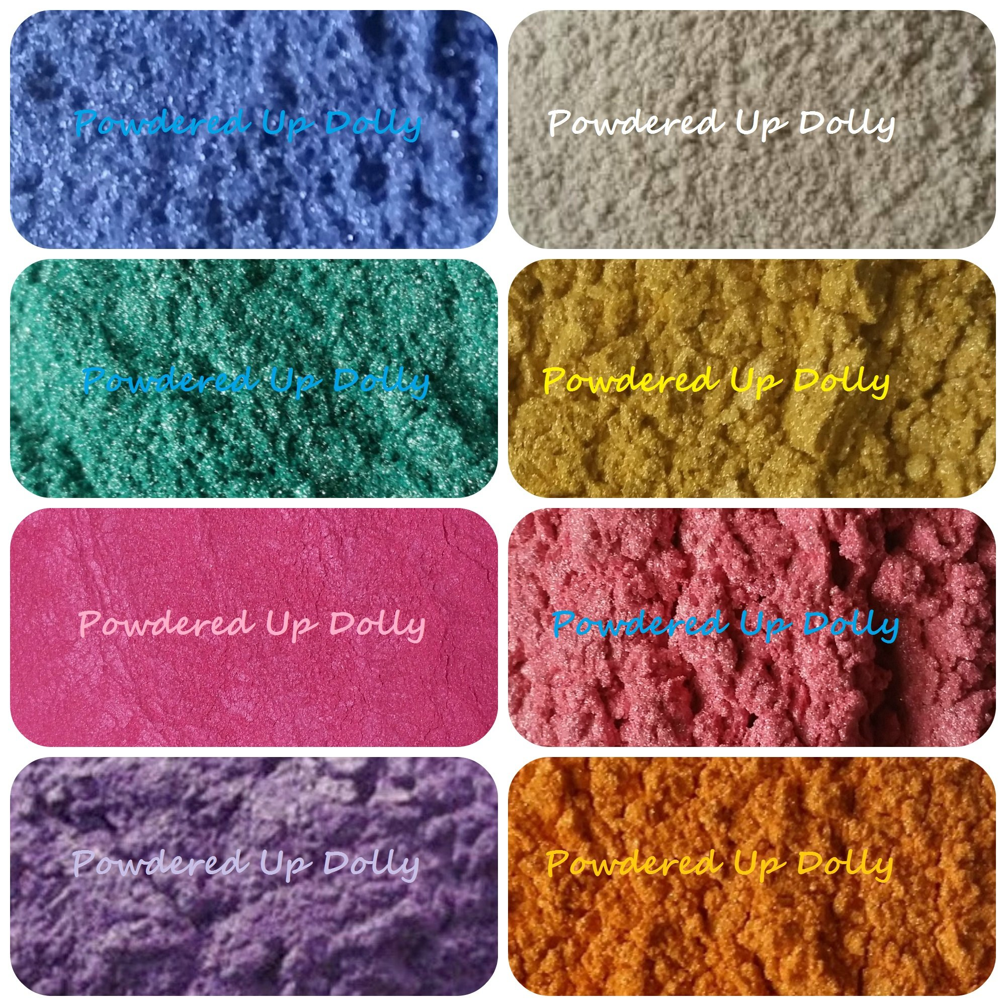 160 Grams Mica Colorants Lot of 8 Cosmetic 20g Each Soap & Craft Color Pigment Powders BLUE White TEAL Gold FUSCHIA HOT PINK MAGENTA Pink PURPLE Orange in Bag Set by Powdered Up Dolly (Image #1)