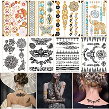 Amazon Com Best Temporary Henna Tattoo Designs Metallic Gold