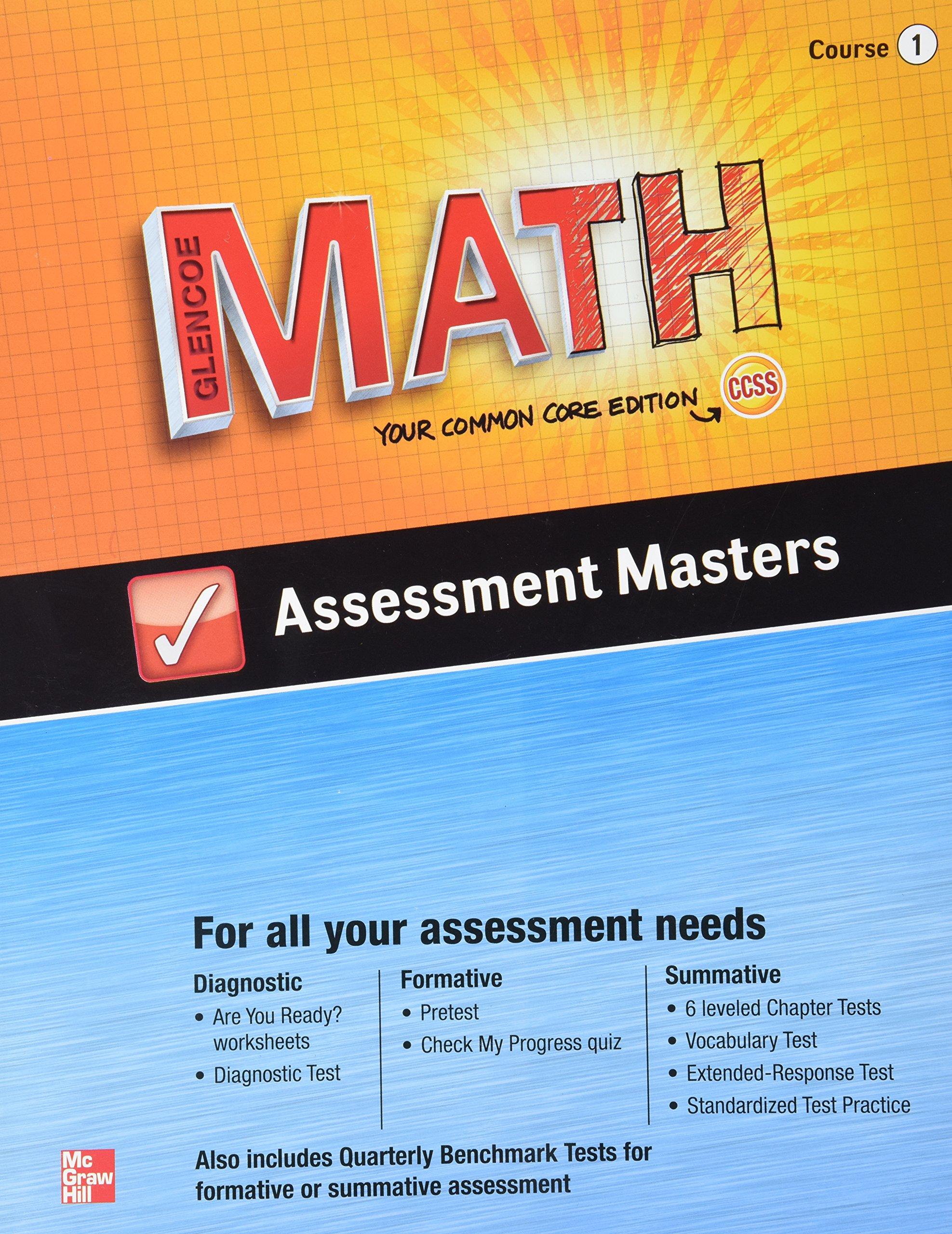 Amazon Glencoe Math Assessment Masters CCSS Common Core – Glencoe Math Worksheets