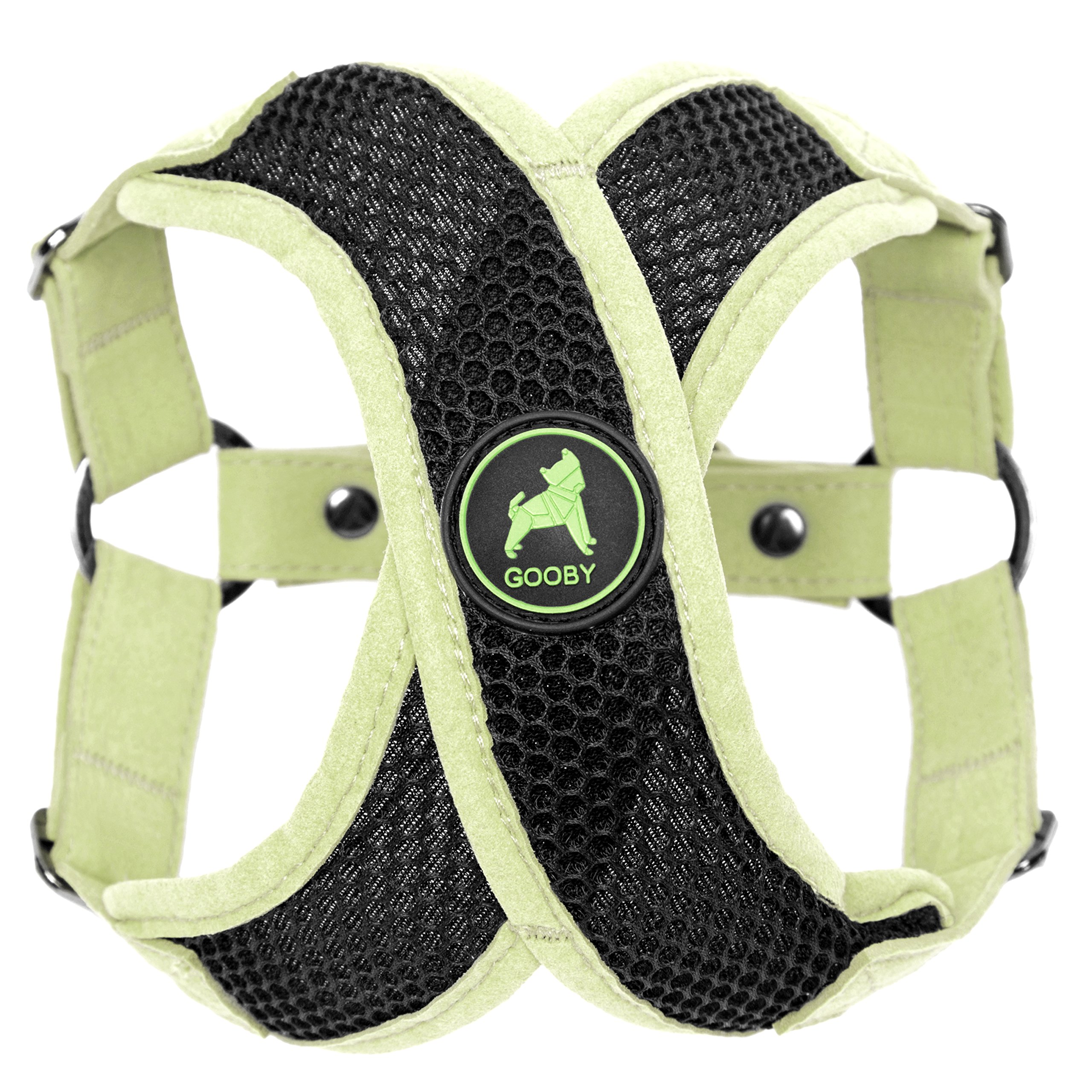 Gooby Choke Free Active X Step-In Synthetic Lambskin Soft Harness for Small Dogs, Green, Medium