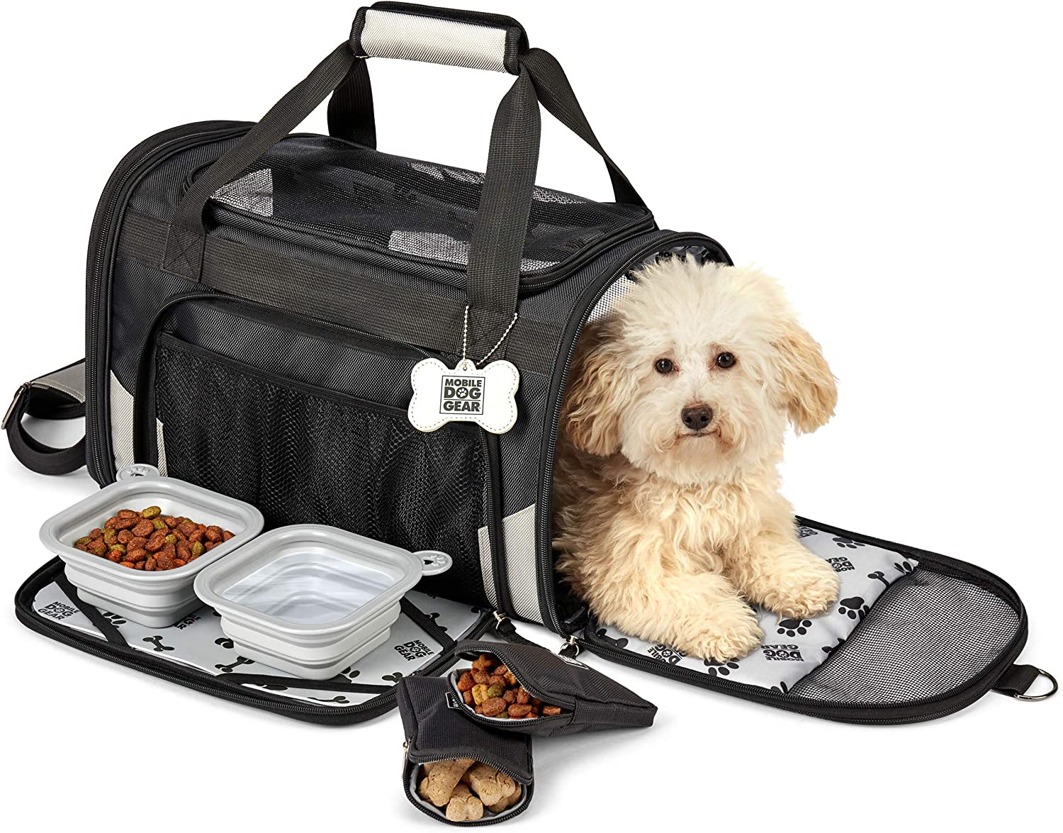 Mobile Dog Gear, Pet Carrier Plus, Small Dog Carrier Includes 2 Lined Food Carriers, Placemat and 2 Collapsible Dog Bowls